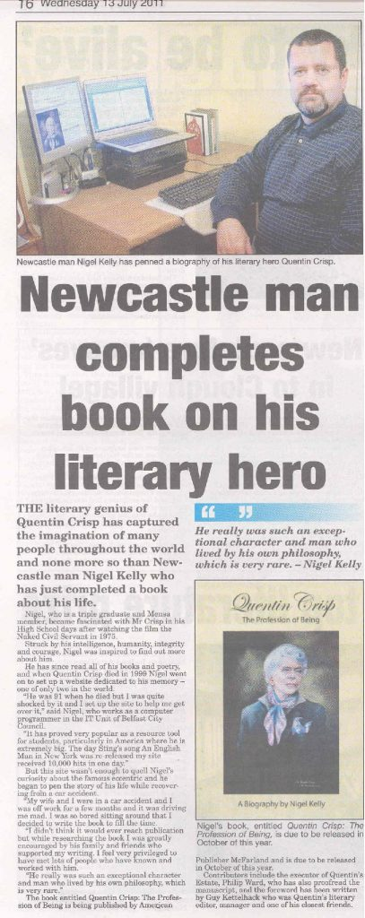 Newcastle man completes book on his literary hero